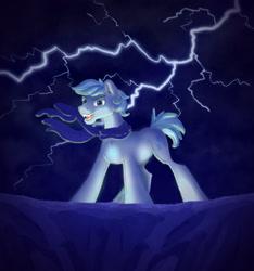Size: 1280x1366 | Tagged: safe, artist:shaslan, double diamond, pony, evil, lightning, solo