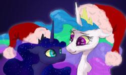 Size: 1280x768 | Tagged: safe, artist:shaslan, princess celestia, princess luna, pony, christmas, hat, holiday, santa hat