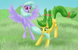 Size: 1280x820 | Tagged: safe, artist:shaslan, apple fritter, flitter, pony, apple family member