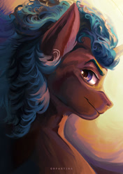 Size: 1280x1814 | Tagged: safe, artist:orfartina, oc, oc only, pony, blue mane, brown coat, looking at you, looking back, looking back at you, male, solo, stallion