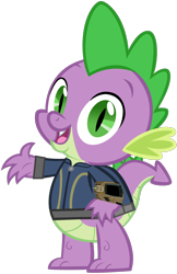 Size: 1280x1972 | Tagged: safe, artist:ponygamer2020, spike, dragon, fallout equestria, clothes, fallout, jumpsuit, looking at you, male, open mouth, pipboy, simple background, solo, transparent background, vault suit, vector, waving, waving at you