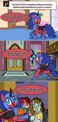 Size: 1280x2680 | Tagged: safe, artist:ladyanidraws, oc, oc:pun, pony, ask pun, ask, clothes, costume, female, filly, glasses, nightmare night costume
