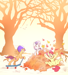 Size: 1000x1100   Tagged: safe, artist:gloomydinosaur, apple bloom, scootaloo, sweetie belle, earth pony, pegasus, pony, unicorn, autumn, cutie mark crusaders, leaf, leaves, lying down, on back, open mouth, playing, this will end in pain, tree, trio