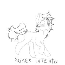 Size: 1080x1080   Tagged: safe, artist:_meli.exe1388_, oc, oc only, earth pony, pony, earth pony oc, lineart, monochrome, raised hoof, solo