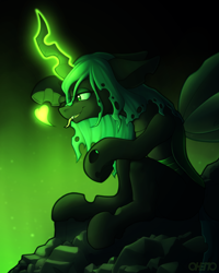Size: 1600x2000 | Tagged: safe, artist:ohemo, queen chrysalis, changeling, changeling queen, female, floating heart, glowing horn, heart, horn, sitting, solo