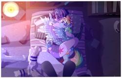 Size: 3384x2160 | Tagged: safe, artist:aaa-its-spook, rainbow dash, twilight sparkle, pony, equestria girls, backwards cutie mark, bed, cute, cutie mark, cutie mark on equestria girl, dashabetes, female, lesbian, pillow, shipping, twiabetes, twidash