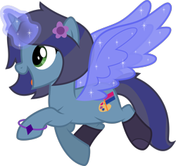 Size: 4237x4000 | Tagged: safe, alternate version, artist:melisareb, oc, oc only, oc:savannah london, pony, unicorn, absurd resolution, alicorn wings, artificial wings, augmented, bisexual pride flag, bracelet, clothes, female, glowing horn, horn, inkscape, jewelry, magic, magic wings, mare, open mouth, pride, pride flag, simple background, socks, solo, telekinesis, transparent background, vector, wings