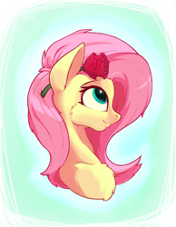 Size: 1111x1433 | Tagged: safe, artist:hc0, fluttershy, pony, bust, flower, flower in hair, portrait, solo