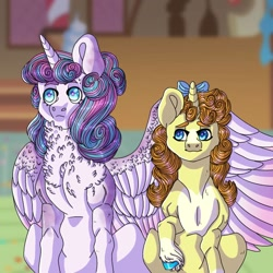Size: 768x768 | Tagged: safe, artist:rainydayjitters, princess flurry heart, pumpkin cake, pony, older