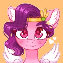 Size: 775x775   Tagged: safe, artist:duskinova, pipp, pegasus, pony, adorapipp, blushing, bust, cute, ear fluff, female, g5, heart, looking at you, mare, orange background, portrait, simple background, smiling, solo