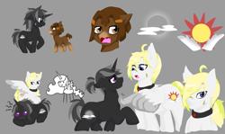 Size: 1159x690   Tagged: safe, artist:jolliapplegirl, oc, oc:hazel drop, oc:moonlight sonata, oc:winter star, earth pony, pegasus, pony, unicorn, collar, cowlick, cutie mark, female, freckles, insurgency; fall of an empire, male, mare, scar, stallion