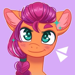 Size: 775x775   Tagged: safe, artist:duskinova, sunny starscout, earth pony, pony, blushing, braid, bust, cute, ear fluff, female, g5, looking at you, mare, portrait, purple background, simple background, smiling, solo, sunnybetes