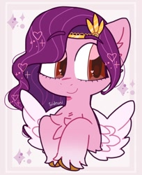Size: 790x970 | Tagged: safe, artist:sidruni, pipp petals, pegasus, pony, g5, abstract background, adorapipp, chest fluff, cute, female, mare, raised hoof, signature, smiling, solo, spread wings, unshorn fetlocks, wings