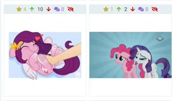 Size: 1123x652 | Tagged: safe, artist:jhayarr23, edit, edited screencap, screencap, pinkie pie, pipp petals, rarity, earth pony, pegasus, pony, unicorn, derpibooru, g5, putting your hoof down, abstract background, adorapipp, bellyrubs, blushing, boomerang (tv channel), crying, cute, duo, duo female, eyes closed, female, floppy ears, heart, juxtaposition, juxtaposition win, lip bite, mare, meme, meta, pinkie cry, sad, smiling, solo, tickling, wavy mouth