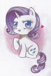 Size: 667x987 | Tagged: safe, artist:miyukikyki, rarity, pony, unicorn, chibi, colored pencil drawing, element of generosity, female, floating heart, heart, looking at you, open mouth, raised hoof, sitting, solo, traditional art