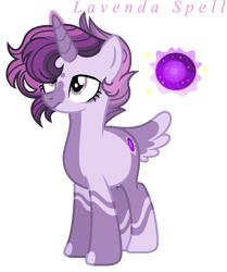 Size: 871x1041 | Tagged: safe, artist:xxcheerupxxx, oc, oc:lavender spell, pony, unicorn, female, magical lesbian spawn, mare, offspring, parent:rainbow dash, parent:twilight sparkle, parents:twidash, simple background, solo, transparent background