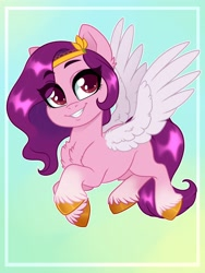 Size: 3000x4000 | Tagged: safe, artist:annakitsun3, pipp petals, pegasus, pony, g5, abstract background, adorapipp, chest fluff, cute, female, grin, high res, looking at you, mare, smiling, solo, spread wings, teeth, unshorn fetlocks, wings