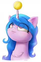 Size: 1008x1528 | Tagged: safe, artist:phoenixrk49, izzy moonbow, pony, unicorn, g5, bust, cheek fluff, chest fluff, female, horn, horn guard, horn impalement, hornball, izzy's tennis ball, looking up, mare, portrait, signature, simple background, solo, tennis ball, white background