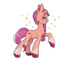 Size: 1952x1664 | Tagged: safe, artist:induk_s, sunny starscout, earth pony, pony, g5, blushing, braid, cute, female, looking at you, mare, raised hoof, simple background, solo, sunnybetes, unshorn fetlocks, white background