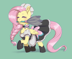 Size: 3879x3176 | Tagged: safe, artist:taytinabelle, part of a set, fluttershy, pegasus, pony, alternate hairstyle, apron, bow, braid, braided ponytail, chest fluff, choker, clothes, collar, cute, cutie mark accessory, dress, duster, ear fluff, eyes closed, female, fluttermaid, green background, happy, maid, maid headdress, mare, mouth hold, raised hoof, shoes, shyabetes, simple background, smiling, solo