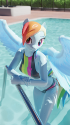 Size: 2160x3840 | Tagged: safe, artist:wintersarts, rainbow dash, pegasus, anthro, plantigrade anthro, 3d, blender, blender cycles, clothes, dock, female, looking at you, poolside, shiny skin, solo, swimming pool, swimsuit, water, wet, wet mane