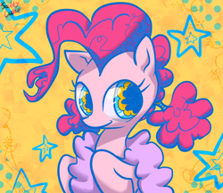 Size: 1956x1700 | Tagged: safe, artist:saltycube, derpibooru exclusive, pinkie pie, earth pony, pony, abstract background, female, mare, smiling, solo, stars