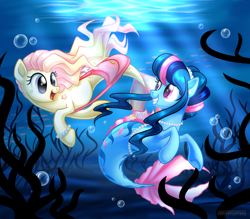 Size: 1024x898 | Tagged: safe, artist:arcadianphoenix, oc, oc only, fish, seapony (g4), blue eyes, crepuscular rays, duo, female, fish tail, flowing mane, flowing tail, jewelry, looking at each other, necklace, not fluttershy, ocean, open mouth, pearl necklace, pink eyes, seashell, seaweed, smiling, sunlight, swimming, tail, underwater, water