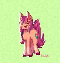 Size: 1158x1205 | Tagged: safe, artist:kafeleik, sunny starscout, earth pony, pony, abstract background, braid, female, g5, mare, one eye closed, open mouth, signature, solo