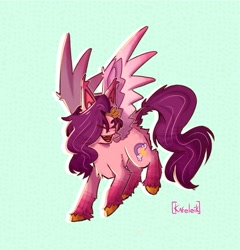 Size: 1158x1205 | Tagged: safe, artist:kafeleik, pipp, pegasus, pony, abstract background, chest fluff, ear fluff, eyes closed, female, g5, mare, open mouth, signature, solo, unshorn fetlocks, wings