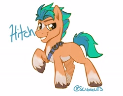 Size: 4096x3218 | Tagged: safe, artist:sciggles, hitch trailblazer, earth pony, pony, g5, grin, high res, looking at you, male, raised hoof, simple background, smiling, solo, stallion, teeth, text, unshorn fetlocks, white background