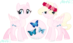 Size: 1024x607 | Tagged: safe, artist:moonbeamhamato, fluttershy, pony, alternate cutie mark, floral head wreath, flower, redesign, reference sheet, simple background, solo, transparent background