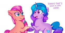 Size: 1980x1013 | Tagged: safe, artist:skylaedits, izzy moonbow, sunny starscout, earth pony, pony, unicorn, bracelet, cheek fluff, chest fluff, dialogue, duo, ear fluff, female, g5, jewelry, looking at each other, mare, open mouth, raised hoof, smiling, text, unshorn fetlocks