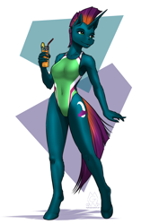 Size: 2000x3000 | Tagged: safe, artist:mykegreywolf, oc, oc only, oc:midnight shadow, unicorn, anthro, unguligrade anthro, abstract background, bicolor swimsuit, breasts, clothes, cutie mark, drink, eyebrows, eyelashes, female, high-cut clothing, holding, leg fluff, mare, one-piece swimsuit, solo, swimsuit
