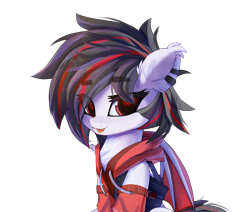 Size: 2137x1812 | Tagged: safe, artist:jfrxd, oc, oc:jfrxd, bat pony, pony, black hair, chest fluff, clothes, cute, ear piercing, hoodie, male, photo, piercing, red eyes, solo, stallion, tongue out
