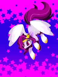 Size: 681x900 | Tagged: safe, artist:stacy_165cut, pipp petals, pegasus, pony, g5, abstract background, adorapipp, cute, female, mare, smiling, solo, spread wings, stars, unshorn fetlocks, wings