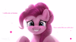 Size: 3360x1890 | Tagged: safe, artist:darksly, pinkie pie, earth pony, pony, bust, crying, dialogue, female, full face view, high res, looking at you, mare, positive ponies, smile song, smiling, smiling at you, solo, song reference, song reference in the description, talking to viewer, tears of joy, teary eyes