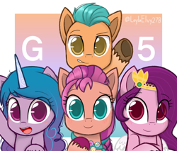 Size: 1350x1150 | Tagged: safe, artist:laylaelvy278, hitch trailblazer, izzy moonbow, pipp petals, sunny starscout, earth pony, pegasus, pony, unicorn, g5, abstract background, adorapipp, badge, blushing, braid, cute, female, fluttershy's cutie mark, hitchbetes, izzybetes, looking at you, male, mare, open mouth, pins, rainbow dash's cutie mark, raised hoof, smiling, stallion, sunnybetes, text, twilight's cutie mark, unshorn fetlocks, waving