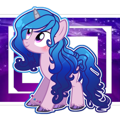 Size: 1440x1461 | Tagged: safe, artist:whiteplumage233, izzy moonbow, pony, unicorn, abstract background, blushing, bracelet, cute, female, g5, g5 to g4, izzybetes, jewelry, mare, solo, unshorn fetlocks