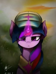 Size: 720x960 | Tagged: safe, artist:dedi-p-762, twilight sparkle, pony, cap, female, glowing horn, hat, horn, lidded eyes, looking at you, mare, peytral, solo