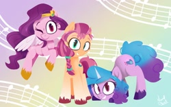 Size: 1600x1000 | Tagged: safe, artist:navy-devil, izzy moonbow, pipp petals, sunny starscout, earth pony, pegasus, pony, unicorn, g5, abstract background, adorapipp, braid, cute, female, izzybetes, looking at you, mare, music notes, one eye closed, signature, smiling, sunnybetes, trio, unshorn fetlocks, wings, wink