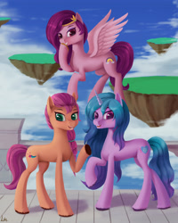 Size: 3779x4724 | Tagged: safe, alternate version, artist:lin feng, izzy moonbow, pipp petals, sunny starscout, earth pony, pegasus, pony, unicorn, g5, absurd resolution, adorapipp, braid, cloud, cute, female, floating island, izzybetes, mare, open mouth, raised hoof, sky, smiling, sunnybetes, trio, unshorn fetlocks, wings