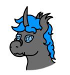 Size: 521x559   Tagged: safe, artist:un simple tio, oc, oc:loshad, changeling, hybrid, bust, fangs, horn, portrait, solo