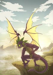 Size: 1600x2256 | Tagged: safe, artist:zetamad, spike, dragon, beefspike, male, muscles, older, older spike, scenery, scenery porn, solo, winged spike