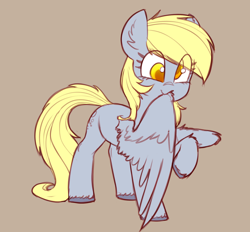 Size: 1714x1594 | Tagged: safe, artist:yoditax, derpibooru exclusive, derpy hooves, pegasus, pony, colored hooves, cute, derpabetes, ear fluff, female, grooming, happy, mare, preening, raised hoof, simple background, solo, wings