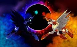 Size: 1080x667 | Tagged: safe, artist:tessa_key_, daybreaker, nightmare moon, alicorn, pony, duo, ethereal mane, eyelashes, female, helmet, hoof shoes, horn, mane of fire, mare, starry mane, wings