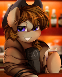 Size: 1424x1764 | Tagged: safe, artist:pridark, oc, oc only, oc:talu gana, earth pony, pony, fallout equestria, alcohol, beverage, commission, cowboy hat, glass, hat, male, solo, stetson