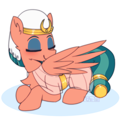 Size: 1452x1398 | Tagged: safe, artist:puetsua, somnambula, pegasus, pony, clothes, cute, dress, egyptian, egyptian headdress, egyptian pony, eyes closed, eyeshadow, featured image, female, flash-featured image, grooming, headdress, lying down, makeup, mare, no nose, preening, prone, simple background, solo, somnambetes, sweet dreams fuel, watermark, white background, wings