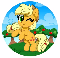 Size: 3910x3784   Tagged: safe, artist:kittyrosie, applejack, earth pony, pony, abstract background, apple, apple tree, blushing, cloud, cute, female, food, hat, jackabetes, kittyrosie is trying to murder us, mare, one eye closed, rearing, smiling, solo, tree, weapons-grade cute, wink