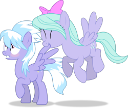 Size: 10886x9213 | Tagged: safe, artist:thatusualguy06, cloudchaser, flitter, pegasus, pony, .svg available, absurd resolution, april fools, april fools 2021, blushing, cute, duo, duo female, eyes closed, featured image, female, flash-featured image, flying, grooming, mare, preening, raised hoof, show accurate, shrunken pupils, siblings, simple background, sisters, spread wings, transparent background, vector, wingboner, wings