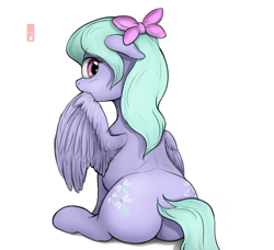 Size: 3782x3446 | Tagged: safe, artist:celsian, flitter, pegasus, pony, both cutie marks, bow, butt, cute, dock, doodle, female, flitterbetes, grooming, looking at you, looking back, looking back at you, mare, plot, plump, preening, rear view, signature, sitting, solo